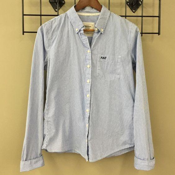 Abercrombie & Fitch Stripe Button Down Blue and white mini stripe button down shirt. Great condition! Abercrombie & Fitch Tops Button Down Shirts
