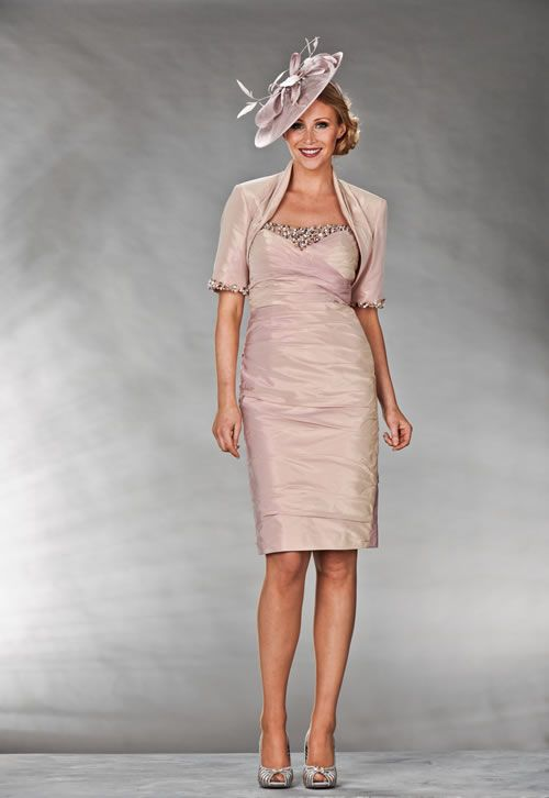 Mother Of The Bride / Groom Outfit: Knee length peach and pink ...