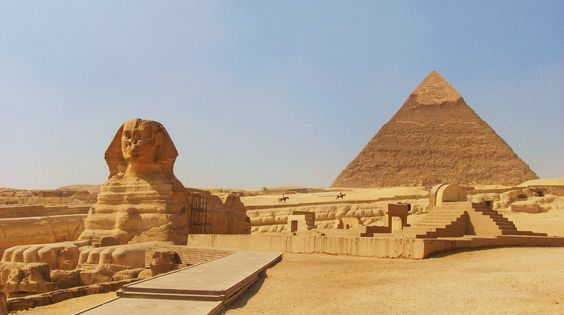Sphinx and Pyramids in Cairo, Egypt.