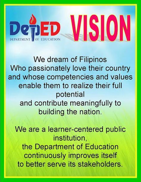 Deped Vision Mission And Core Values In 2020 High School Bulletin Boards Classroom Bulletin Boards Elementary Classroom Rules Poster