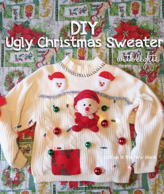 This DIY Ugly Christmas sweater is really bad!! Or should that be good.... oh well you know what I mean!