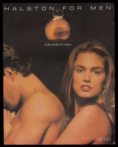 1990 Cindy Crawford photo Halston for Men cologne vintage print ad