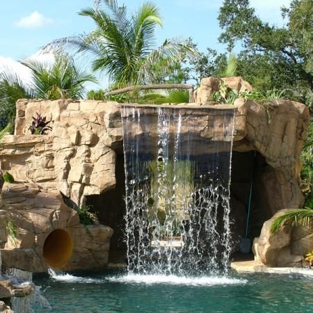 Gallery standard swimming pool waterfalls by ricorock inc a new way to build custom for Standard swimming pool size uk