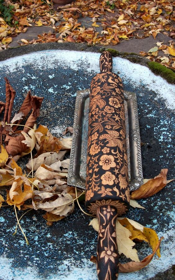 large rolling pin by burnedfurniture #etsy. Beautiful!! (though cleaning it would be a bear if you really used it!)