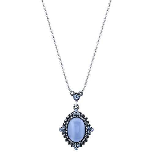 1928 Pewter Blue Moonstone Oval Pendant Necklace Moonstone Pendant Necklace Moonstone Pendant Pewter Necklaces