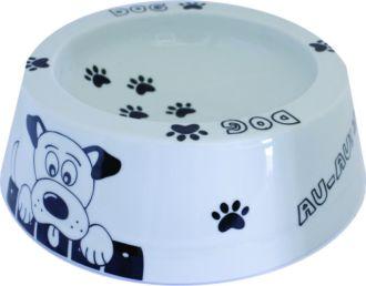 Comedouro em porcelana decorada motivo DOG. Tamanho 25cm diamentro por 8cm altura