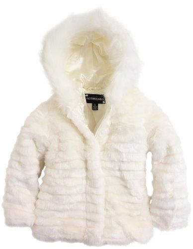 Rothschild Girls Grooved Faux Fur Hooded Jacket - White (Size 2T