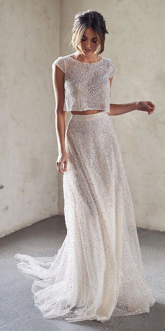 10 Wedding Dress Designers You Want To Know About ❤  wedding dress designers with cap sleeves sequins detached skirt annacampbellbridal #weddingforward #wedding #bride