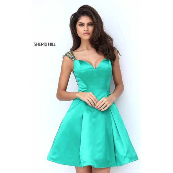 Sherri Hill 50548 Emerald Cap Sleeve Short Homecoming Dress via Polyvore featuring dresses, homecoming dresses, green cap sleeve dress, cap sleeve homecoming dresses, cap sleeve dress and emerald dress