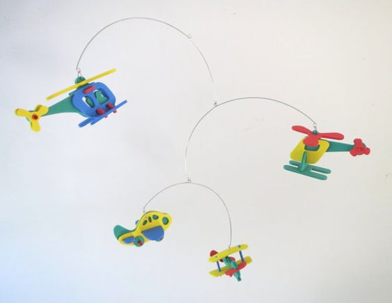 Colorful Airplanes Kinetic Nursery Mobile - Bright, Colorful, Foam, Boys, Planes