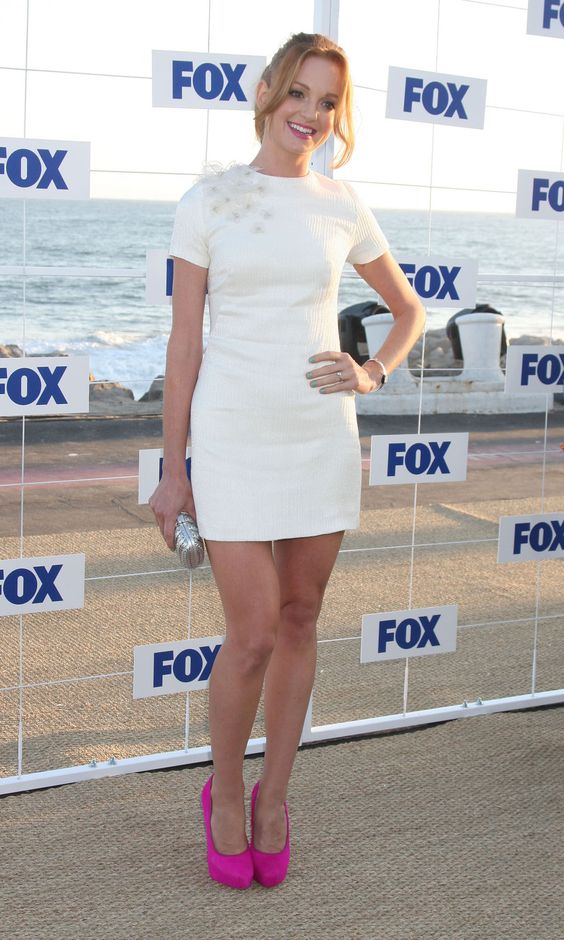 white dress and white heels | Jayma Mays white mini dress with