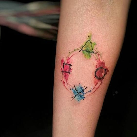 """Watercolour Playstation tattoo by @rodferod  #playstation #ps4 #playstationtattoo Thanks Felipe!"""