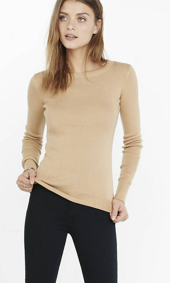Fitted Crew Neck Sweater | Express