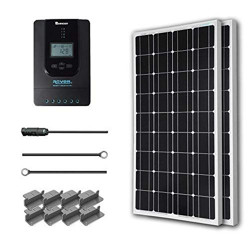 Renogy 200 Watt 12 Volt Monocrystalline Solar Starter Kit W 40a Rover Mppt Charge Controller Mc4 Connectors Solar Energy Panels Solar Panels 12v Solar Panel