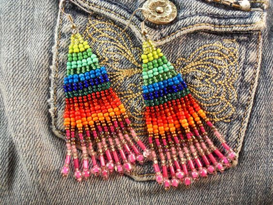 Rainbow Bohemian Style Earrings,Seed Bead Woven Gypsy Chic ...