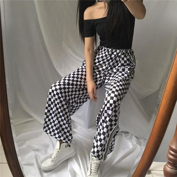 itGirl Shop CHECKER GRID BLACK WHITE OVERSIVED SPORTISH GRUNGE PANTS Aesthetic Apparel, Tumblr Clothes, Soft Grunge, Pastel goth, Harajuku fashion. Korean and Japan Style looks