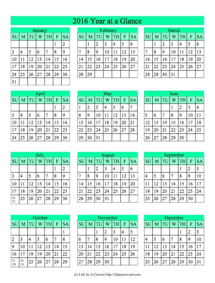 2016 Year at a Glance Homeschool Calendar Printable FREE Calendars