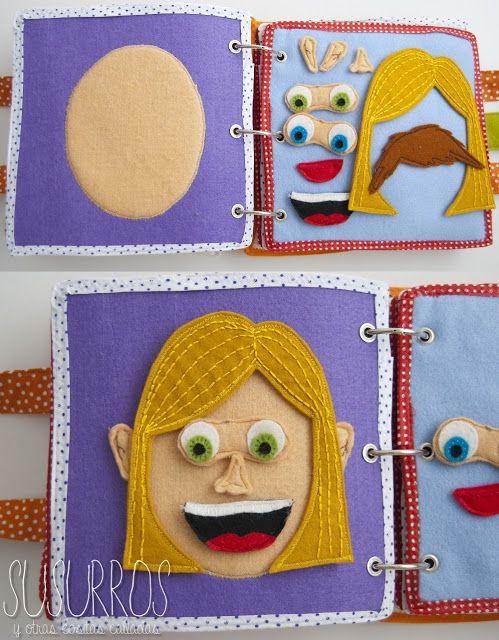 Livro em tecido interactivo.Em:  http://cositascalladas.blogspot.com.es/2013/09/mi-libro-de-juegos.html  Susurros y otras cositas calladas: Mi libro de juegos