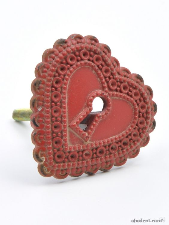 Unlocked Heart Cupboard Knob | Red Love Heart Metal Handle | abodent.com