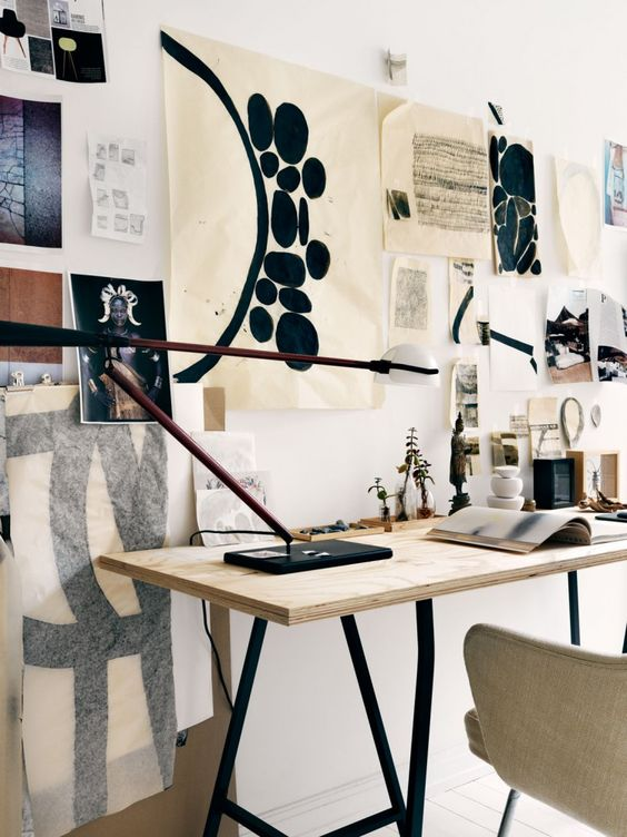 Perfect workspace in Asa Stenerhag's creative and eclectic Stockholm apartment, via http://www.scandinavianlovesong.com/