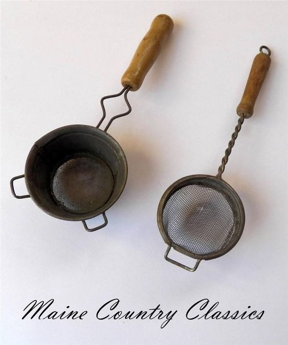 2 Antique WOODEN HANDLE TEA STRAINERS Tin & Twisted Wire