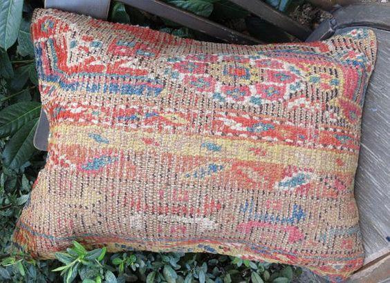 Antikes handgemacht Teppich Kissen decken Schurwolle von EymenArt