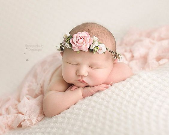 Flower Crown Newborn Photography Prop Vintage style flower headpiece is a stunning photo prop or flower girl halo for newborns though toddlers. Handmade with delicate paper flowers and leaf embellishments on wired grapevine wreath. Open in back with sheer ribbon tieback. The pink