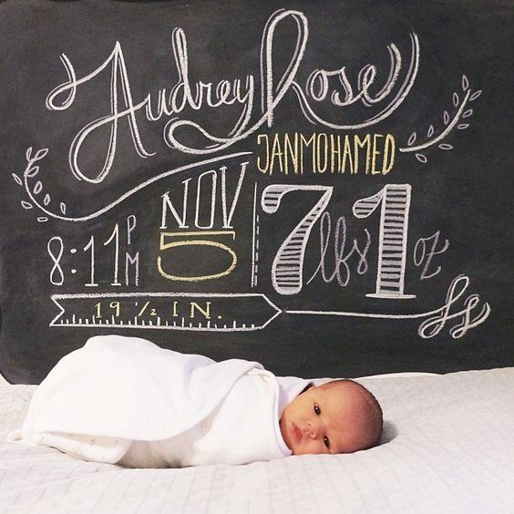 10 Precious Baby Announcements – Chalkboard Birth Announcement