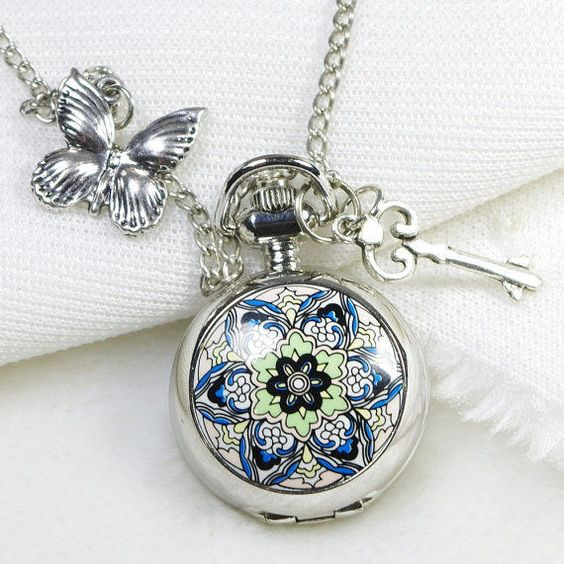 steampunk snitch blue flower silver pocket watch necklace  butterfly charms