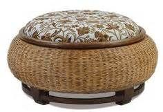 rope wrapped tire ottoman with padding on top