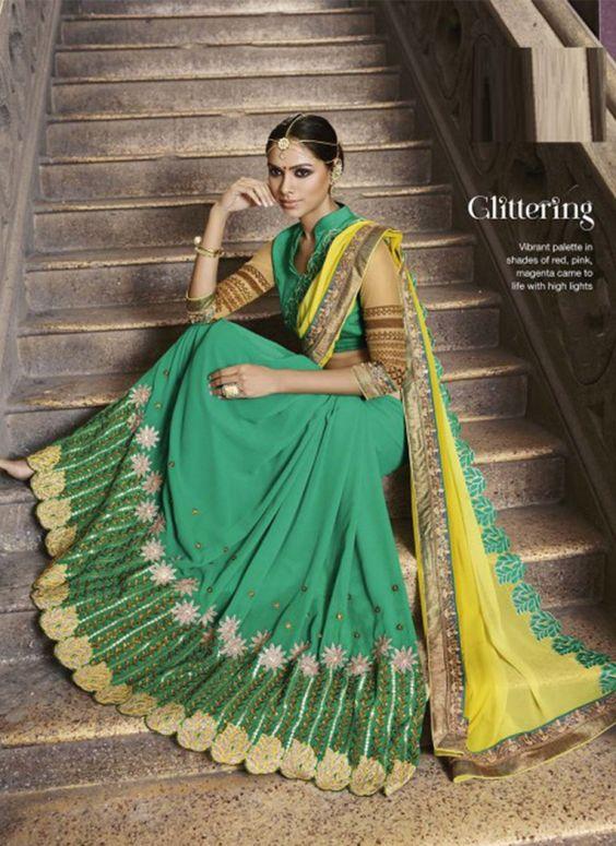 Angelic Lime Yellow and Green Designer Saree - shopneez.com