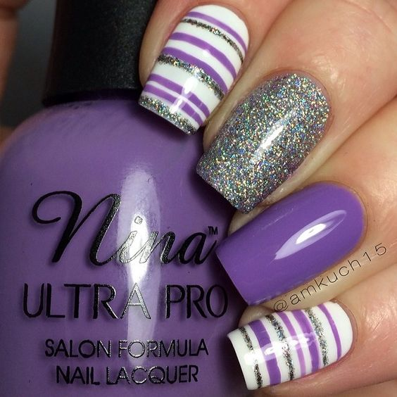 Easter, Spring Nail Art Ideas! Purple, White, Silver, Grey