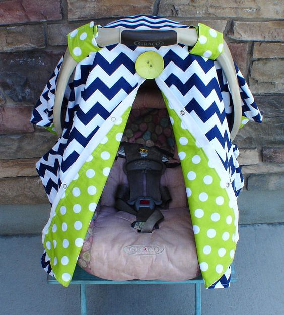Navy Blue Chevron Stripe Carseat Canopy FREE Shipping Code Today
