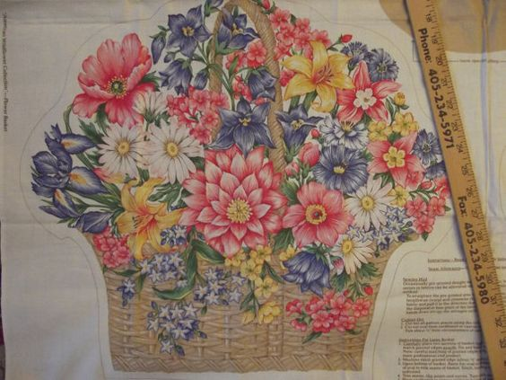 Fabric Craft Panel to Sew Flower Basket Pillows by CatBazaar
