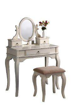 Amazon.com: Bobkona Rylan Vanity Set with Stool, Antique White: Home & Kitchen $144.16