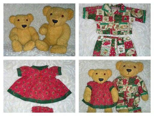 Beren met beweegbare armen gemaakt en kerstkleding. Ik noem ze Bibi en Bas.