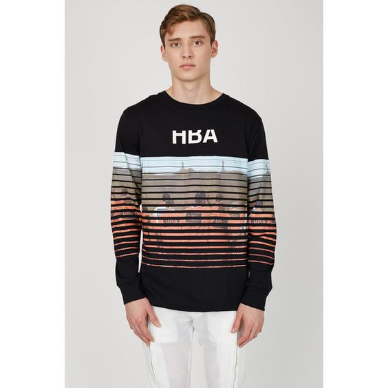 Hood By Air Long-Sleeve T-Shirt ($240) ❤ liked on Polyvore featuring mens, men's clothing, men's shirts, men's t-shirts and black