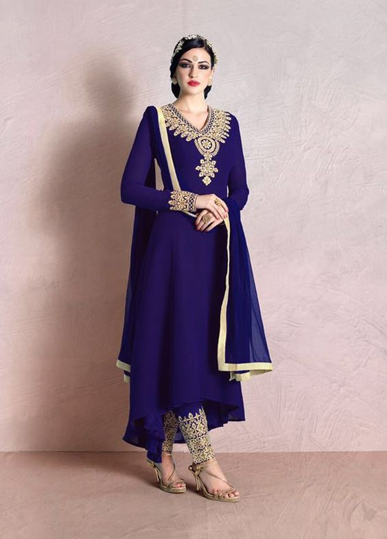 Epitome Blue #Georgette #Partywear #SalwarSuit  #Indianethnicwear #womenwear #ethnicsuit #designer