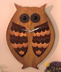 Whimsical Wood Owl Clock