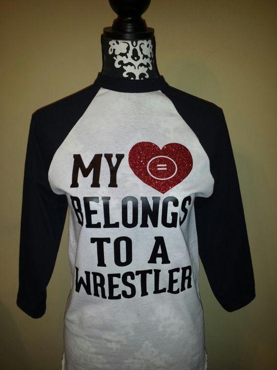 "My ""Heart"" Belongs to a Wrestler or Wrestling Coach raglan baseball shirt on Etsy, $25.00 cute shirt"