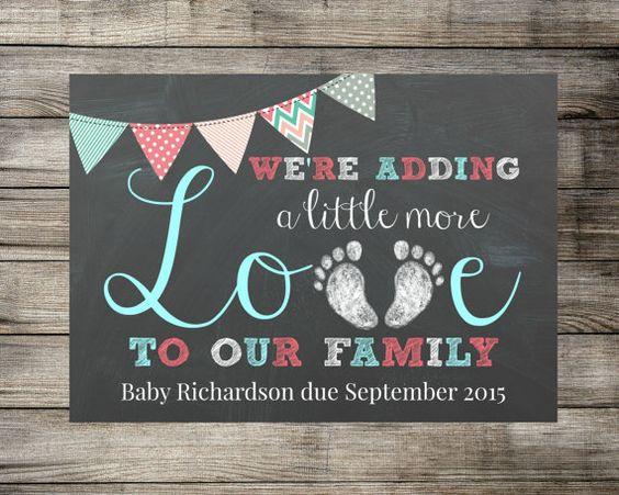 Bebé / embarazo anuncio estamos añadiendo por MariesDigitalDesigns
