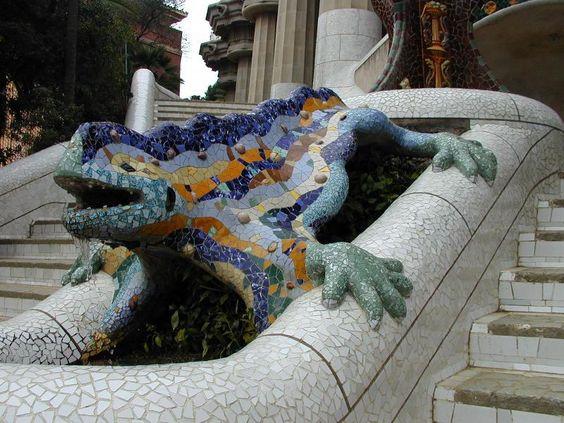 Description: Barcelona, Spain: Park Guell: salamander (dragon) sculpture (1900-1914, architect Antoni Gaudi)