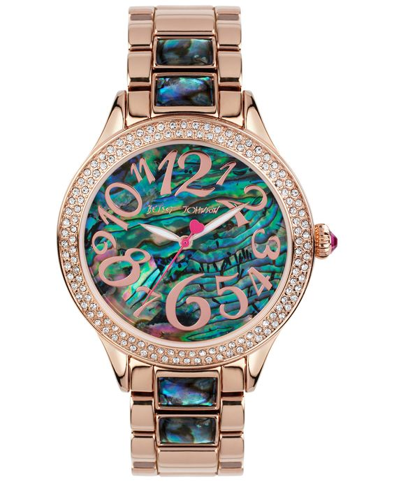 Betsey Johnson Women's Abalone-Color and Rose Gold-Tone Bracelet Watch 40mm BJ00478-04 - Watches - Jewelry & Watches - Macy's