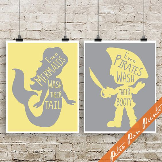 Even Mermaids Wash Their Tails Even Pirates Wash by PeterPanPrints