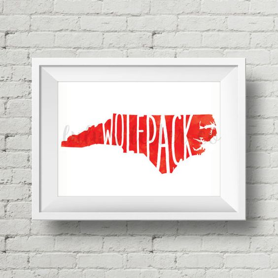 NC State Wolfpack  Watercolor  Digital Art  by LulusLetterCo