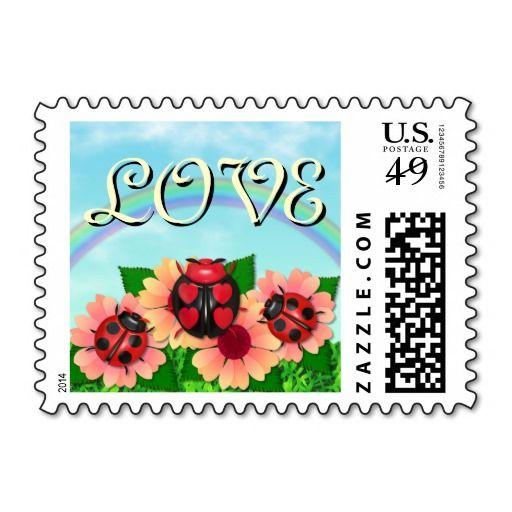 """Ladybug Love"" in the Garden Postal Stamp"