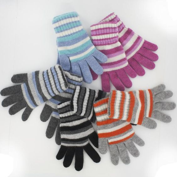 Stripey cashmere gloves to keep your children cosy