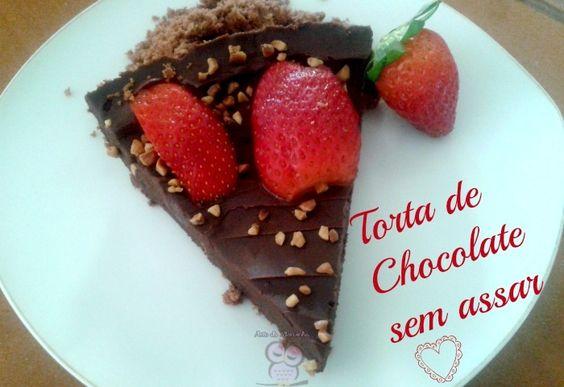 Receita Torta de Chocolate com Morangos sem assar: