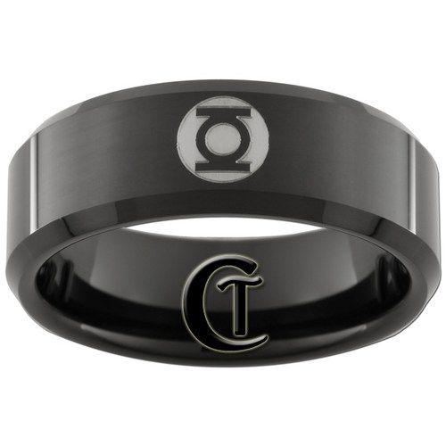 8mm Black Tungsten Carbide Band Beveled Green Lantern Ring Sizes 5-15 | CustomTungsten - Jewelry on ArtFire