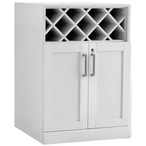 Home Bar 24 in. Wine Storage Wood Cabinet in White Woodgrain